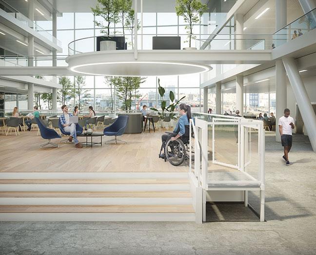 plate-forme élévatrice blanche pour les utilisateurs de fauteuils roulants